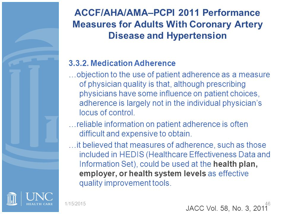 ACCF/AHA/AMA–PCPI 2011 Performance Measures for Adults With Coronary Artery Disease and Hypertension 3.3.2. Medication Adherence …objection to the use