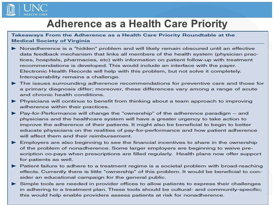 Adherence as a Health Care Priority 1/15/2015 47