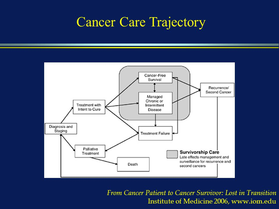 From Cancer Patient to Cancer Survivor: Lost in Transition Institute of Medicine 2006, www.iom.edu Cancer Care Trajectory