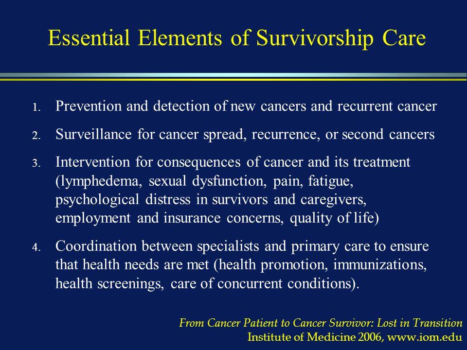 Essential Elements of Survivorship Care 1.