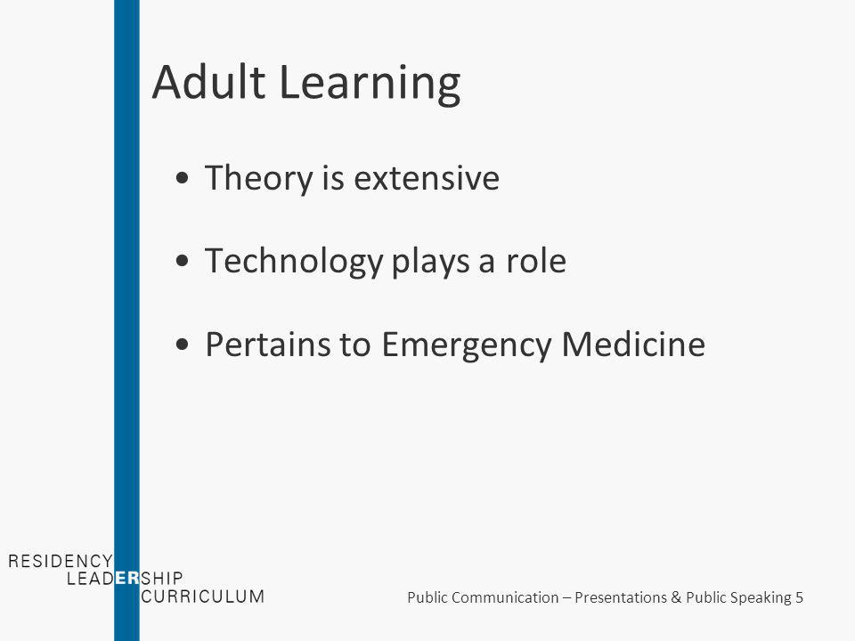 "Public Communication – Presentations & Public Speaking 4 Adult Learning ""Education Theory"""