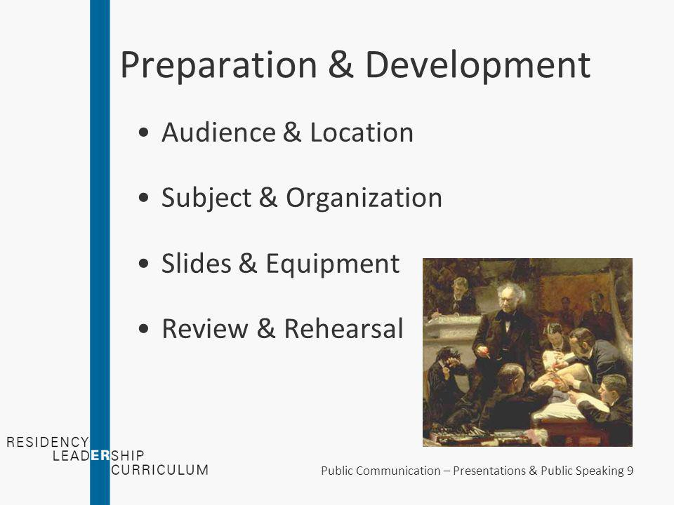 "Public Communication – Presentations & Public Speaking 8 Preparation & Development ""Building blocks of teaching"""