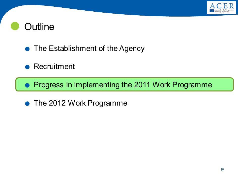 10 Outline. The Establishment of the Agency. Recruitment.
