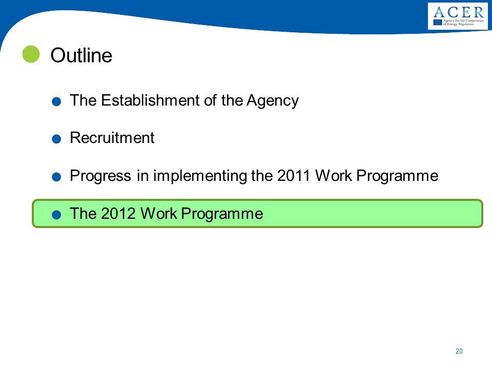 20 Outline. The Establishment of the Agency. Recruitment.