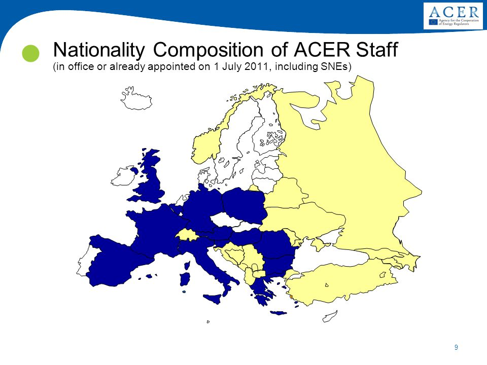 9 Nationality Composition of ACER Staff (in office or already appointed on 1 July 2011, including SNEs)