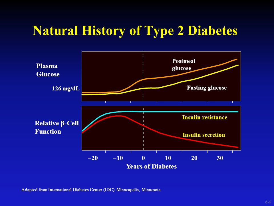  20  10 0102030 Natural History of Type 2 Diabetes Adapted from International Diabetes Center (IDC).