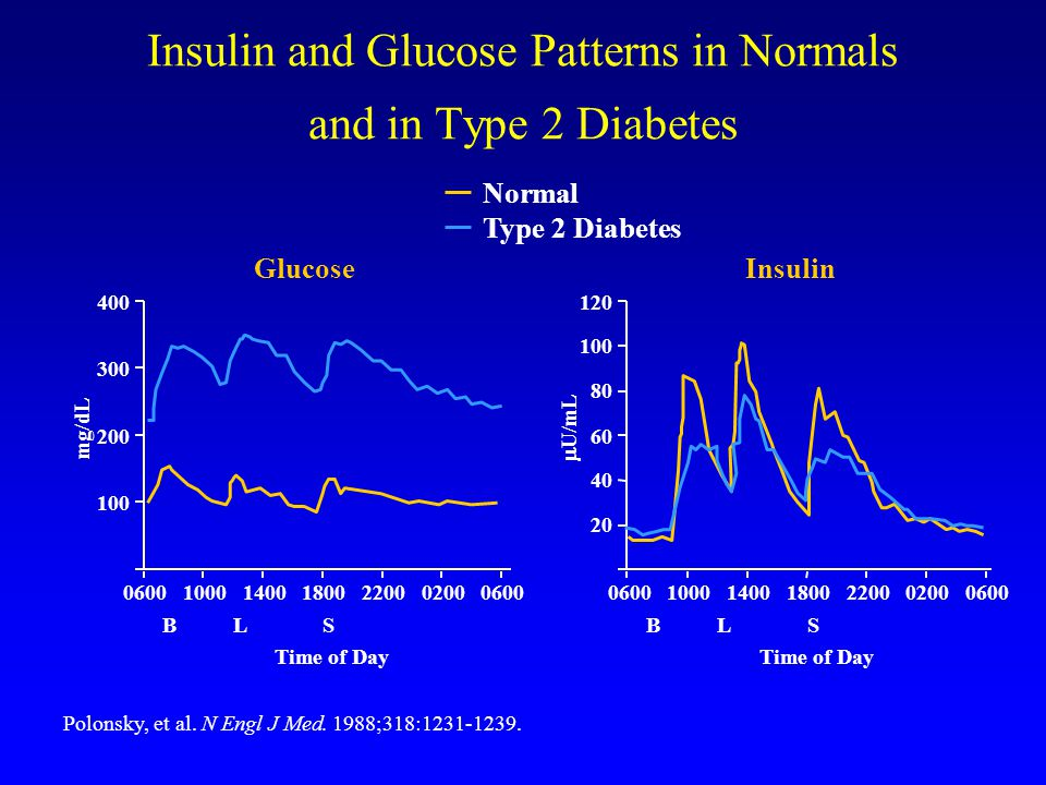 Insulin and Glucose Patterns in Normals and in Type 2 Diabetes Polonsky, et al.