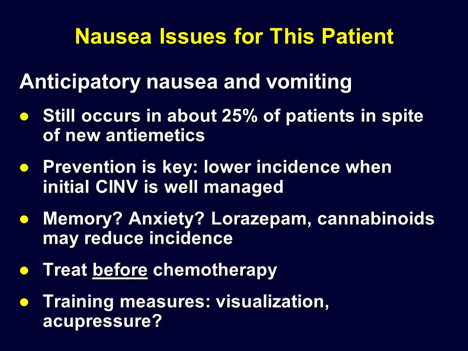 Nausea Issues for This Patient Anticipatory nausea and vomiting Still occurs in about 25% of patients in spite of new antiemetics Still occurs in abou