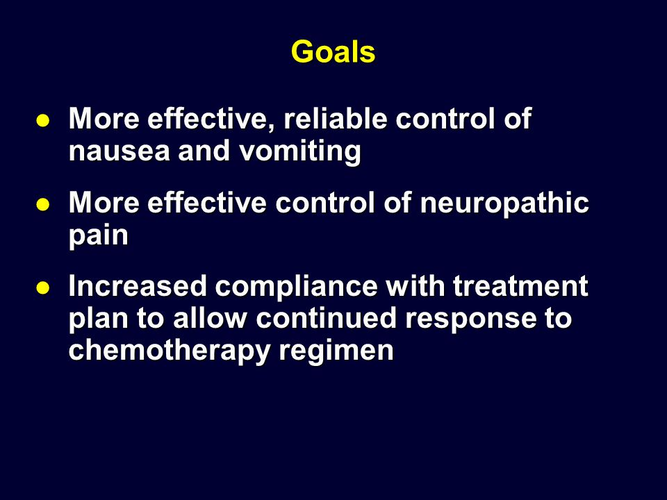 Goals More effective, reliable control of nausea and vomiting More effective, reliable control of nausea and vomiting More effective control of neurop