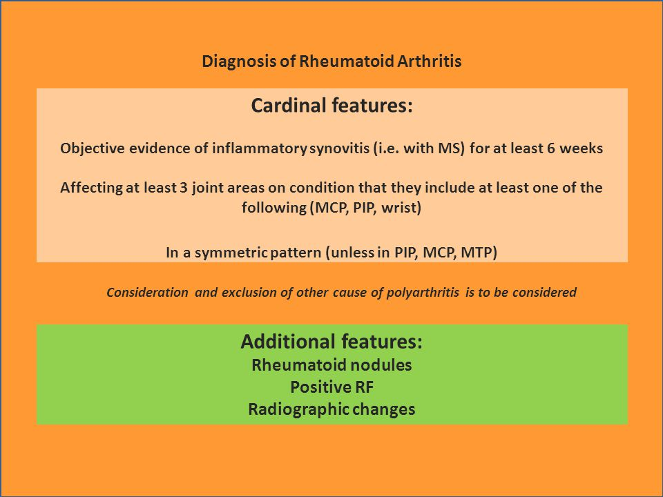 Diagnosis of Rheumatoid Arthritis Cardinal features: Objective evidence of inflammatory synovitis (i.e.