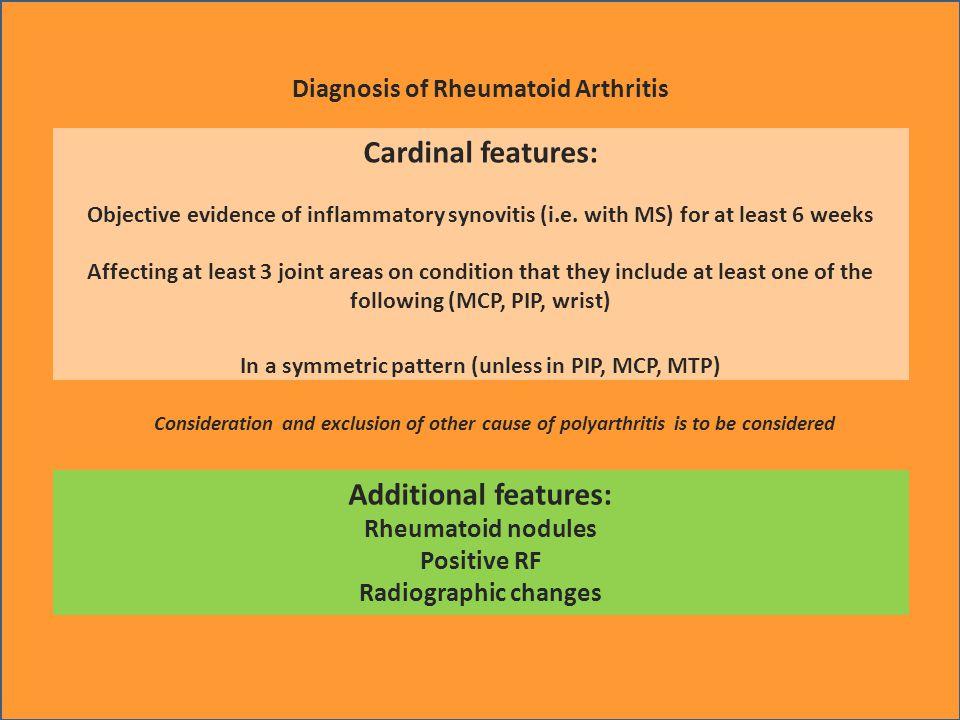 Assessment of Activity of Rheumatoid Arthritis Symptoms Signs Laboratory parameters Pain (VAS), Duration of morning stiffness Joint tenderness (TJC), Joint swelling (SJC) ESR, CRP Functional assessments Health assessment questionnaire (HAQ) Composite measures DAS, DAS28