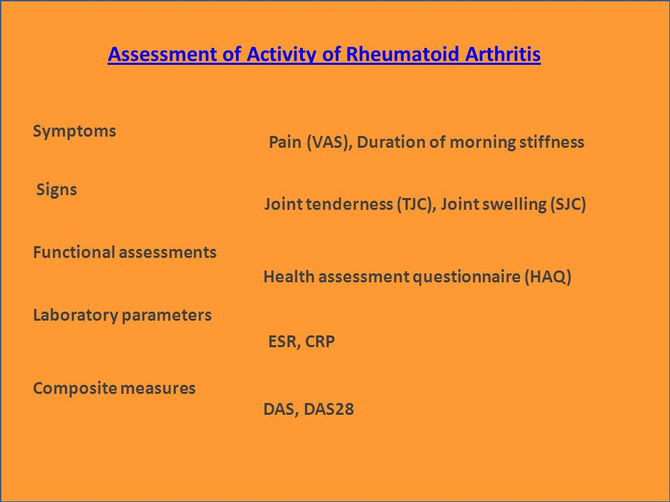 Assessment of Activity of Rheumatoid Arthritis Symptoms Signs Laboratory parameters Pain (VAS), Duration of morning stiffness Joint tenderness (TJC), Joint swelling (SJC) ESR, CRP Functional assessments Health assessment questionnaire (HAQ) Composite measures DAS, DAS28