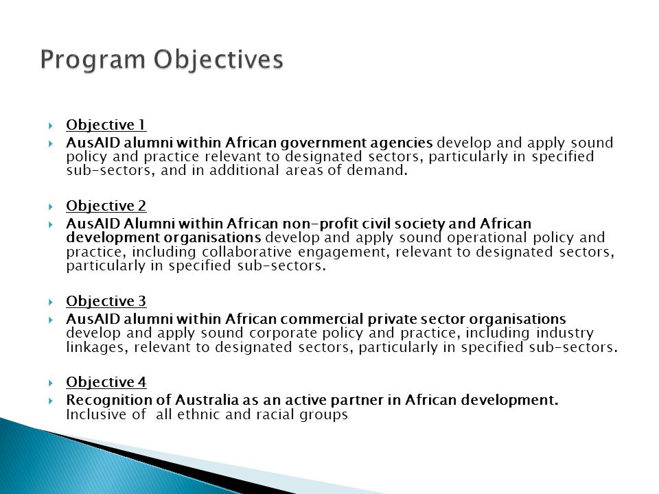  The goal and four objectives of the Africa Program 2010- 2015 are:  Program Goal  A Study and Professional Development Award program contributing