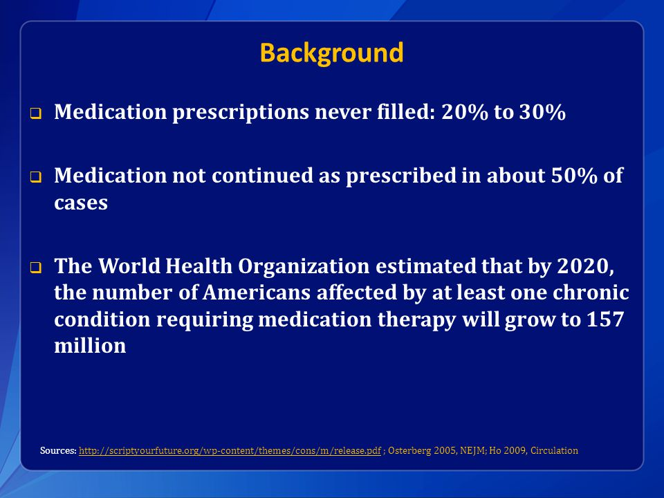 Background  Medication prescriptions never filled: 20% to 30%  Medication not continued as prescribed in about 50% of cases  The World Health Organization estimated that by 2020, the number of Americans affected by at least one chronic condition requiring medication therapy will grow to 157 million Sources: http://scriptyourfuture.org/wp-content/themes/cons/m/release.pdf ; Osterberg 2005, NEJM; Ho 2009, Circulationhttp://scriptyourfuture.org/wp-content/themes/cons/m/release.pdf