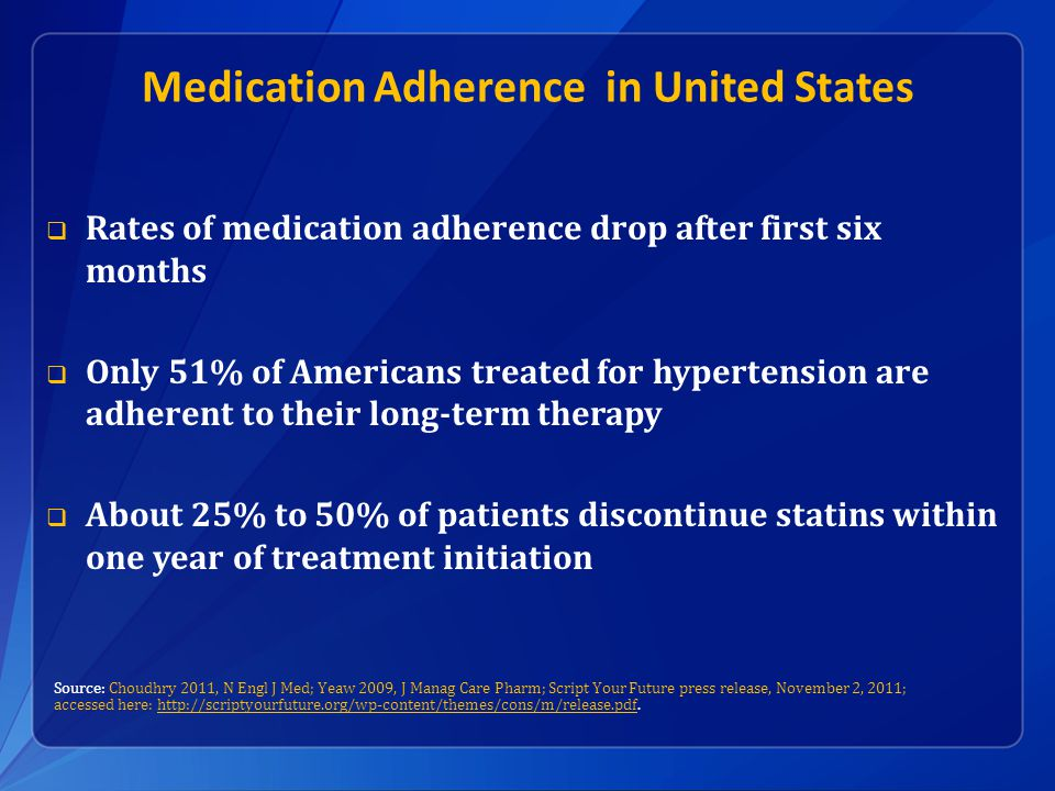 Medication Adherence in United States  Rates of medication adherence drop after first six months  Only 51% of Americans treated for hypertension are adherent to their long-term therapy  About 25% to 50% of patients discontinue statins within one year of treatment initiation Source: Choudhry 2011, N Engl J Med; Yeaw 2009, J Manag Care Pharm; Script Your Future press release, November 2, 2011; accessed here: http://scriptyourfuture.org/wp-content/themes/cons/m/release.pdf.http://scriptyourfuture.org/wp-content/themes/cons/m/release.pdf