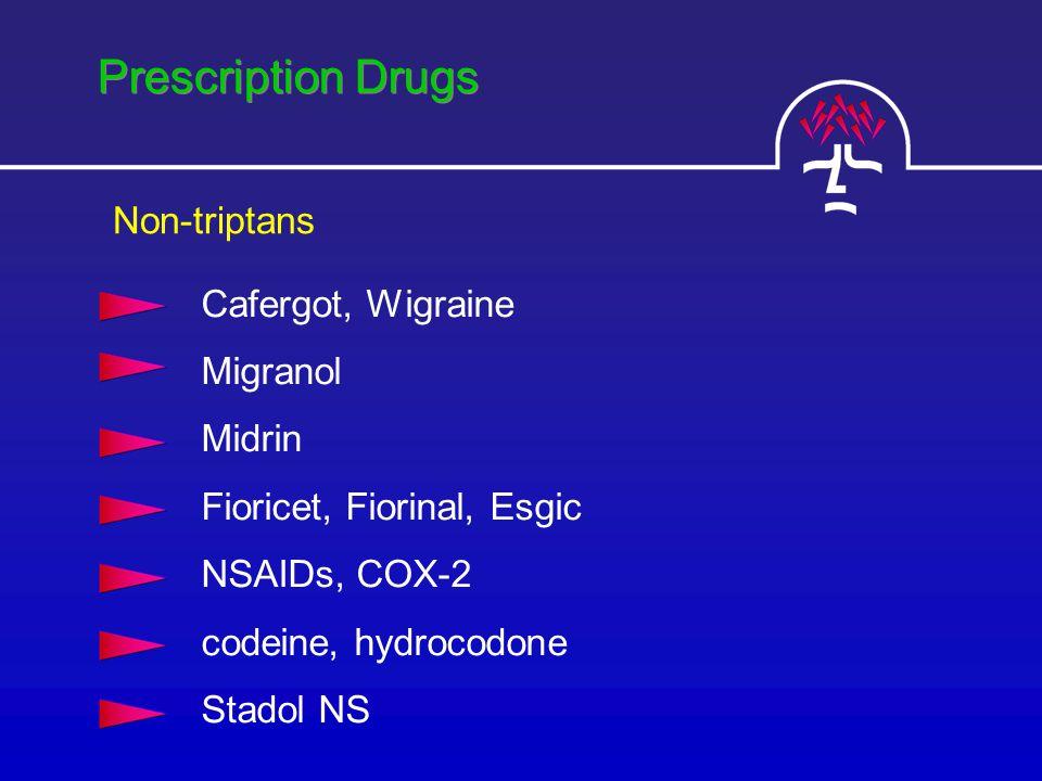 Prescription Drugs Cafergot, Wigraine Migranol Midrin Fioricet, Fiorinal, Esgic NSAIDs, COX-2 codeine, hydrocodone Stadol NS Non-triptans