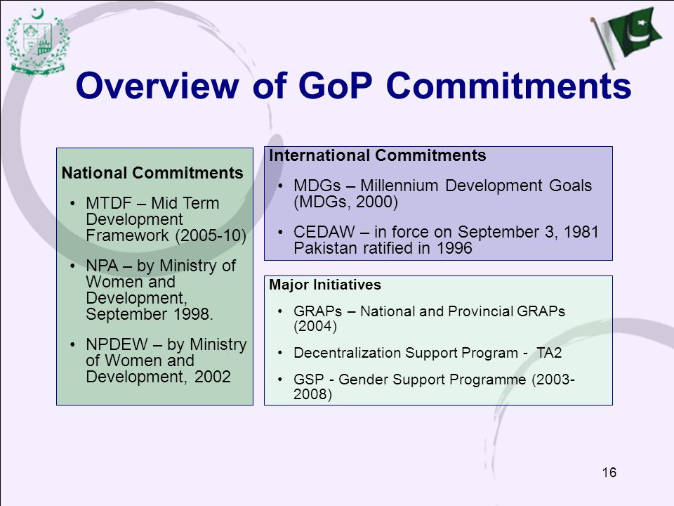 16 International Commitments MDGs – Millennium Development Goals (MDGs, 2000) CEDAW – in force on September 3, 1981 Pakistan ratified in 1996 Major Initiatives GRAPs – National and Provincial GRAPs (2004) Decentralization Support Program - TA2 GSP - Gender Support Programme (2003- 2008) Overview of GoP Commitments National Commitments MTDF – Mid Term Development Framework (2005-10) NPA – by Ministry of Women and Development, September 1998.