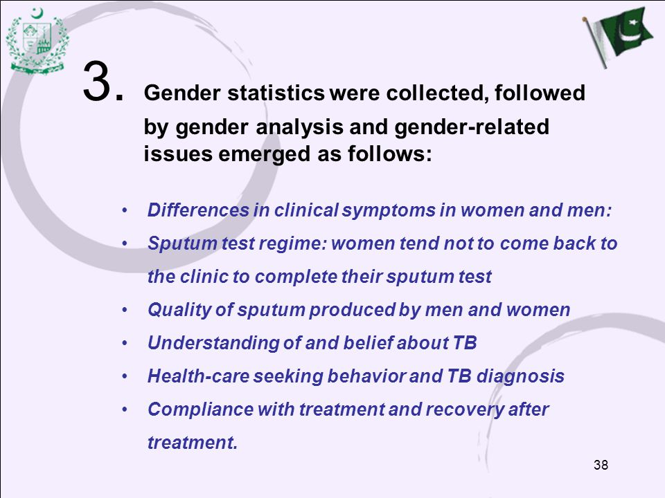 38 3. Gender statistics were collected, followed by gender analysis and gender-related issues emerged as follows: Differences in clinical symptoms in