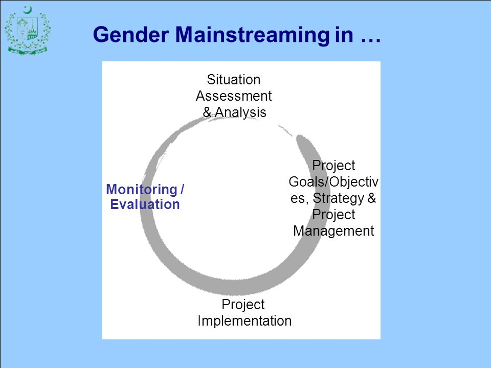 44 Gender Mainstreaming in … Situation Assessment & Analysis Project Implementation Project Goals/Objectiv es, Strategy & Project Management Monitoring / Evaluation