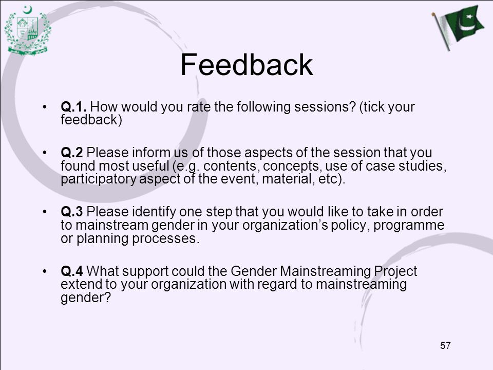 57 Feedback Q.1.How would you rate the following sessions.