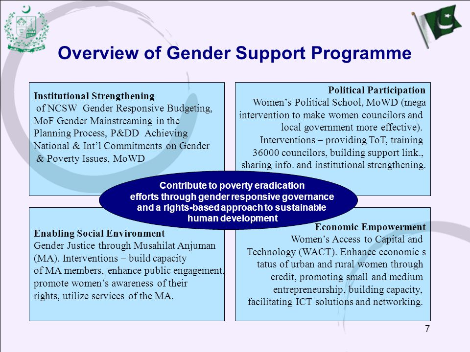 7 Overview of Gender Support Programme Political Participation Women's Political School, MoWD (mega intervention to make women councilors and local government more effective).