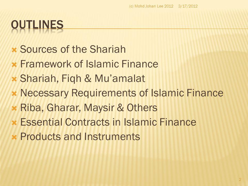  Sources of the Shariah  Framework of Islamic Finance  Shariah, Fiqh & Mu'amalat  Necessary Requirements of Islamic Finance  Riba, Gharar, Maysir