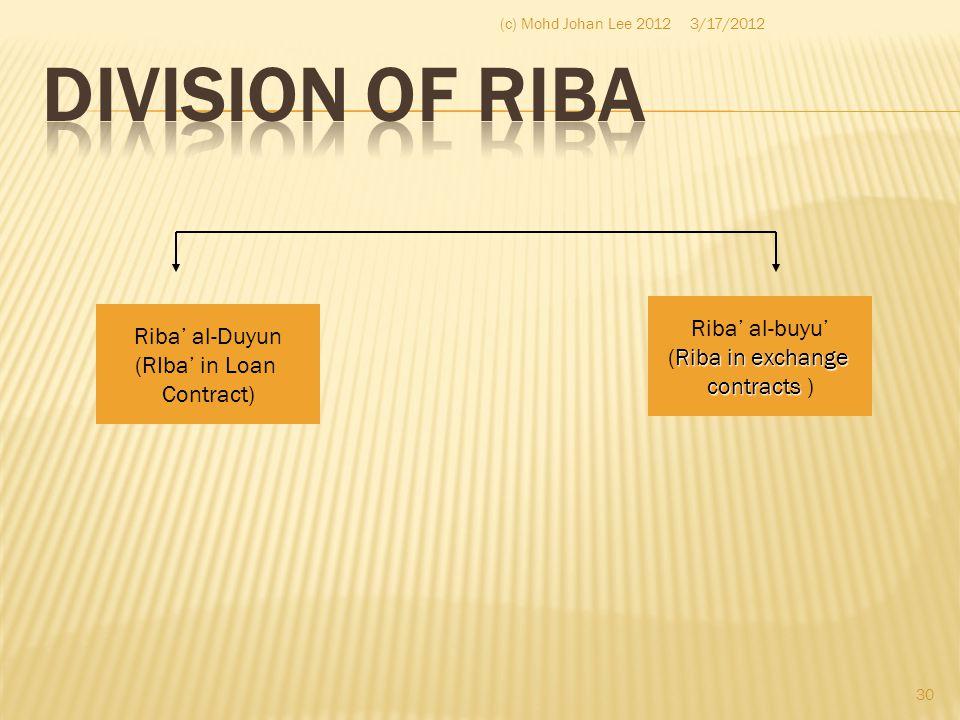 Riba' al-Duyun (RIba' in Loan Contract) Riba' al-buyu' Riba in exchange (Riba in exchange contracts contracts ) 3/17/2012 30 (c) Mohd Johan Lee 2012