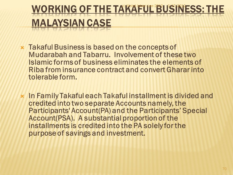  Takaful Business is based on the concepts of Mudarabah and Tabarru. Involvement of these two Islamic forms of business eliminates the elements of Ri