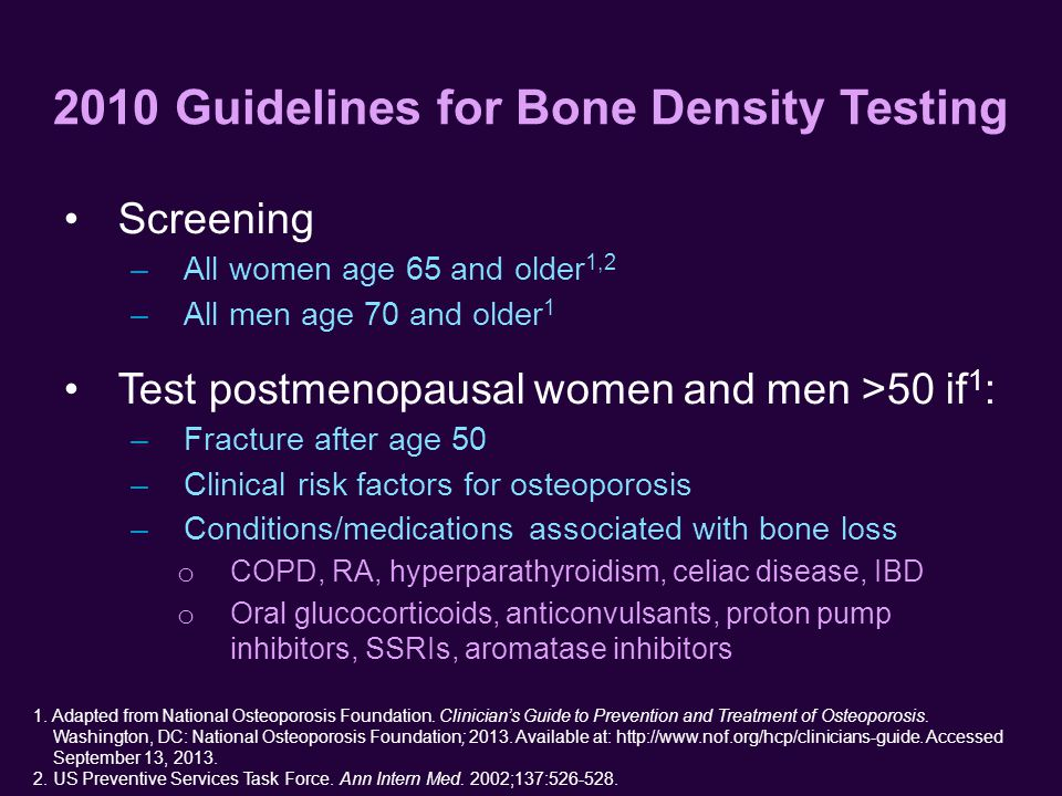 2010 Guidelines for Bone Density Testing 1. Adapted from National Osteoporosis Foundation.