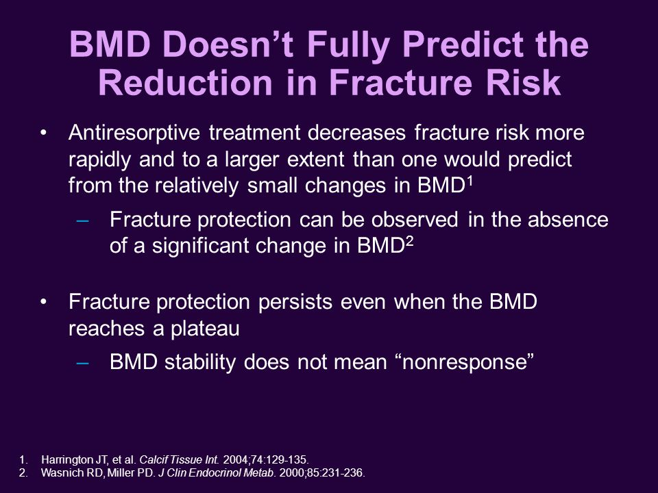 BMD Doesn't Fully Predict the Reduction in Fracture Risk Antiresorptive treatment decreases fracture risk more rapidly and to a larger extent than one would predict from the relatively small changes in BMD 1 –Fracture protection can be observed in the absence of a significant change in BMD 2 Fracture protection persists even when the BMD reaches a plateau –BMD stability does not mean nonresponse 1.Harrington JT, et al.