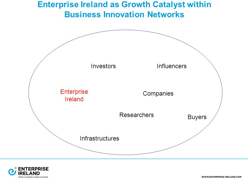 Enterprise Ireland as Growth Catalyst within Business Innovation Networks Enterprise Ireland Investors Researchers Infrastructures Buyers Companies Influencers