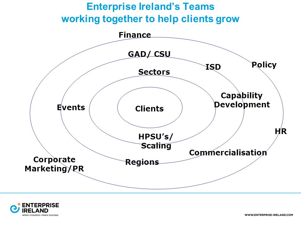 Enterprise Ireland's Teams working together to help clients grow Clients Sectors HPSU's/ Scaling Regions Commercialisation Capability Development ISD GAD/ CSU Events Corporate Marketing/PR HR Policy Finance