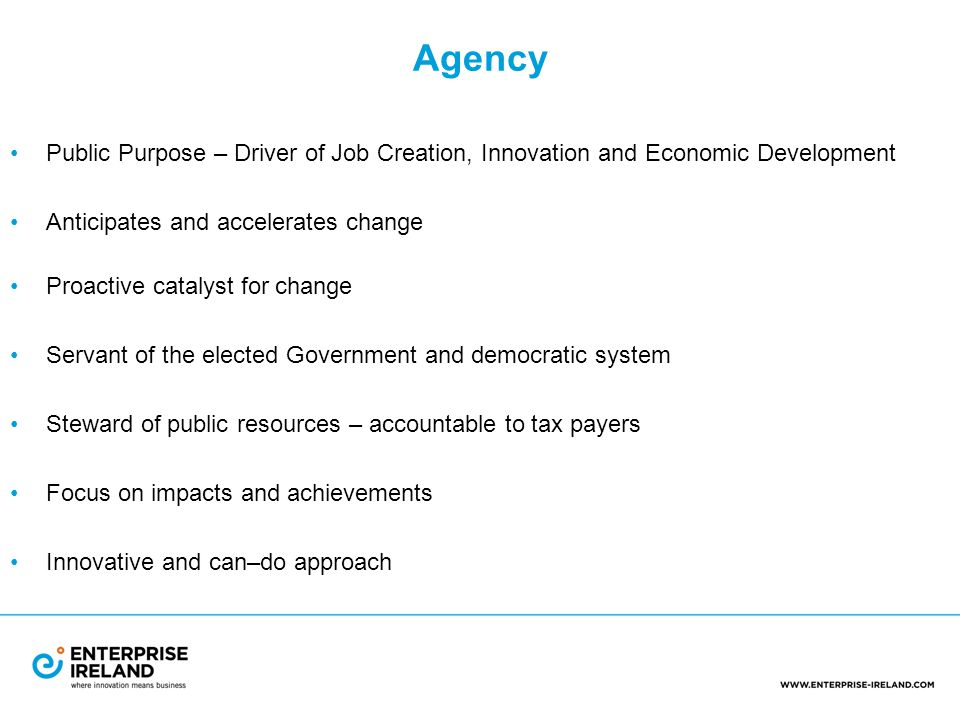 Agency Public Purpose – Driver of Job Creation, Innovation and Economic Development Anticipates and accelerates change Proactive catalyst for change Servant of the elected government and democratic system Steward of public resources – accountable to tax payers Focus on impacts and achievements Innovative and can – do approach
