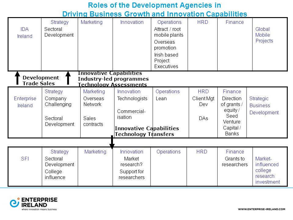 Roles of the Development Agencies in Driving Business Growth and Innovation Capabilities IDA Ireland Strategy Sectoral Development MarketingInnovationOperations Attract / root mobile plants Overseas promotion Irish based Project Executives HRDFinance Global Mobile Projects SFI Strategy Sectoral Development College influence MarketingInnovation Market research.