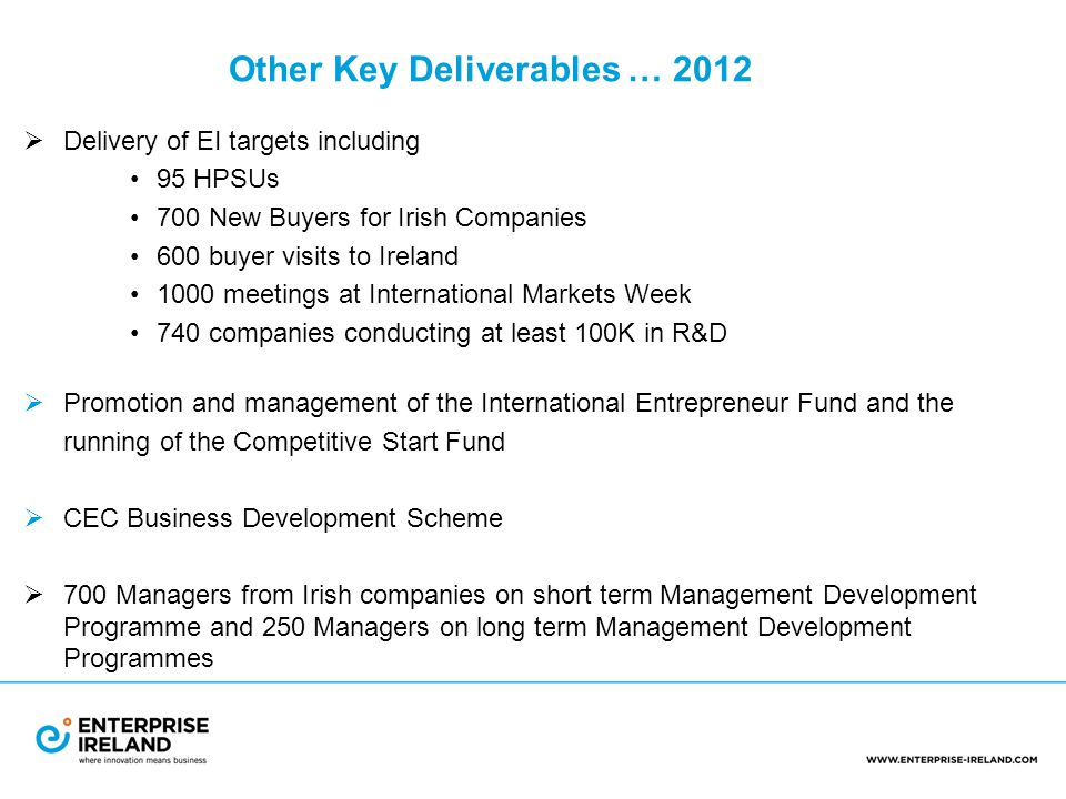 Other Key Deliverables … 2012  Delivery of EI targets including 95 HPSUs 700 New Buyers for Irish Companies 600 buyer visits to Ireland 1000 meetings at International Markets Week 740 companies conducting at least 100K in R&D  Promotion and management of the International Entrepreneur Fund and the running of the Competitive Start Fund  CEC Business Development Scheme  700 Managers from Irish companies on short term Management Development Programme and 250 Managers on long term Management Development Programmes