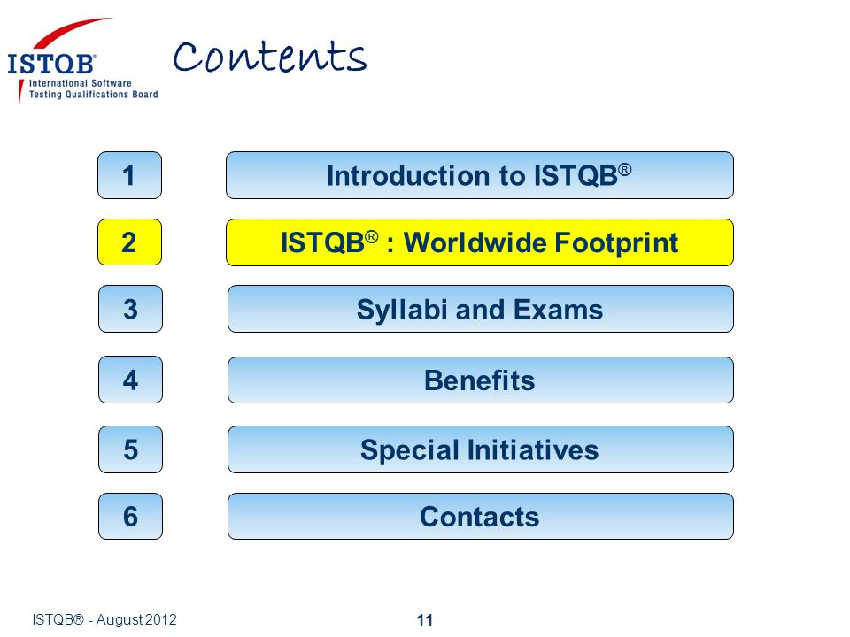 Contents 11 ISTQB ® : Worldwide Footprint 2 Introduction to ISTQB ® 1 Syllabi and Exams 3 Benefits 4 Contacts 6 ISTQB® - August 2012 Special Initiativ