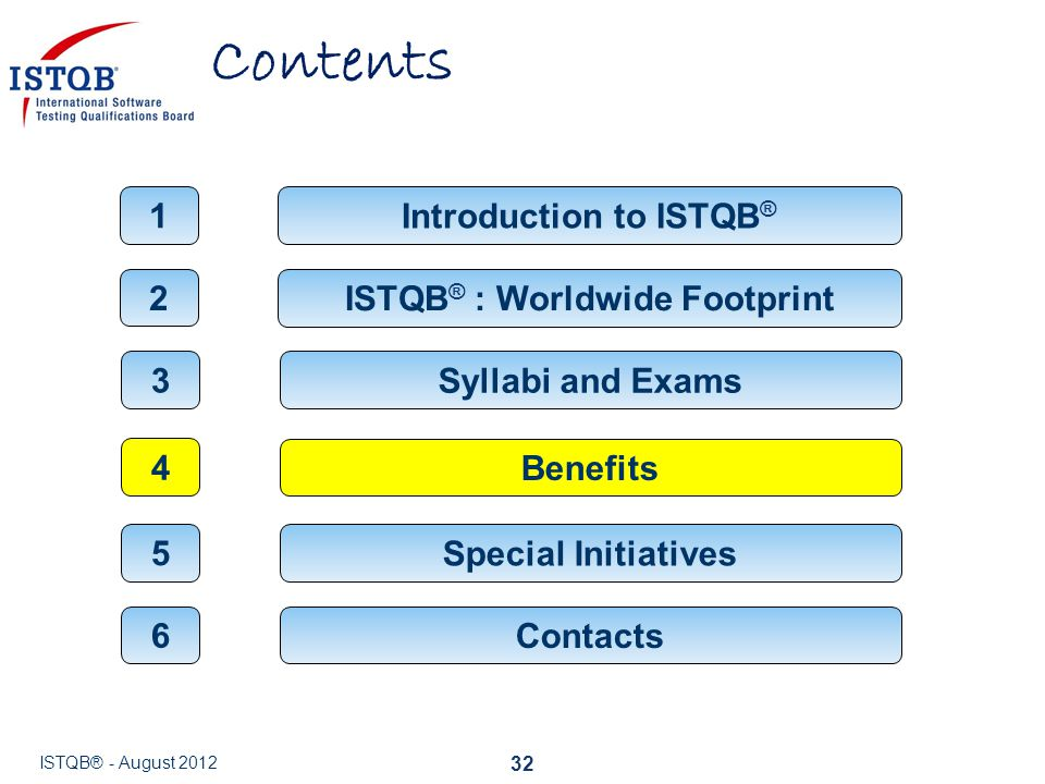 Contents 32 ISTQB ® : Worldwide Footprint 2 Introduction to ISTQB ® 1 Syllabi and Exams 3 Benefits 4 Contacts 6 ISTQB® - August 2012 Special Initiativ