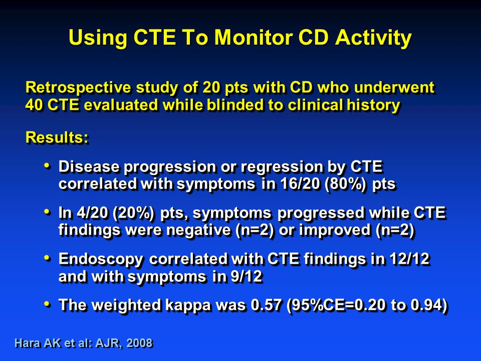 Retrospective study of 20 pts with CD who underwent 40 CTE evaluated while blinded to clinical history Results: Disease progression or regression by CTE correlated with symptoms in 16/20 (80%) pts Disease progression or regression by CTE correlated with symptoms in 16/20 (80%) pts In 4/20 (20%) pts, symptoms progressed while CTE findings were negative (n=2) or improved (n=2) In 4/20 (20%) pts, symptoms progressed while CTE findings were negative (n=2) or improved (n=2) Endoscopy correlated with CTE findings in 12/12 and with symptoms in 9/12 Endoscopy correlated with CTE findings in 12/12 and with symptoms in 9/12 The weighted kappa was 0.57 (95%CE=0.20 to 0.94) The weighted kappa was 0.57 (95%CE=0.20 to 0.94) Retrospective study of 20 pts with CD who underwent 40 CTE evaluated while blinded to clinical history Results: Disease progression or regression by CTE correlated with symptoms in 16/20 (80%) pts Disease progression or regression by CTE correlated with symptoms in 16/20 (80%) pts In 4/20 (20%) pts, symptoms progressed while CTE findings were negative (n=2) or improved (n=2) In 4/20 (20%) pts, symptoms progressed while CTE findings were negative (n=2) or improved (n=2) Endoscopy correlated with CTE findings in 12/12 and with symptoms in 9/12 Endoscopy correlated with CTE findings in 12/12 and with symptoms in 9/12 The weighted kappa was 0.57 (95%CE=0.20 to 0.94) The weighted kappa was 0.57 (95%CE=0.20 to 0.94) Hara AK et al: AJR, 2008 Using CTE To Monitor CD Activity