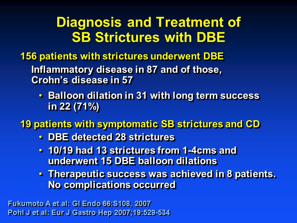 Diagnosis and Treatment of SB Strictures with DBE 156 patients with strictures underwent DBE Inflammatory disease in 87 and of those, Crohn's disease in 57 Balloon dilation in 31 with long term success in 22 (71%)Balloon dilation in 31 with long term success in 22 (71%) 19 patients with symptomatic SB strictures and CD DBE detected 28 stricturesDBE detected 28 strictures 10/19 had 13 strictures from 1-4cms and underwent 15 DBE balloon dilations10/19 had 13 strictures from 1-4cms and underwent 15 DBE balloon dilations Therapeutic success was achieved in 8 patients.