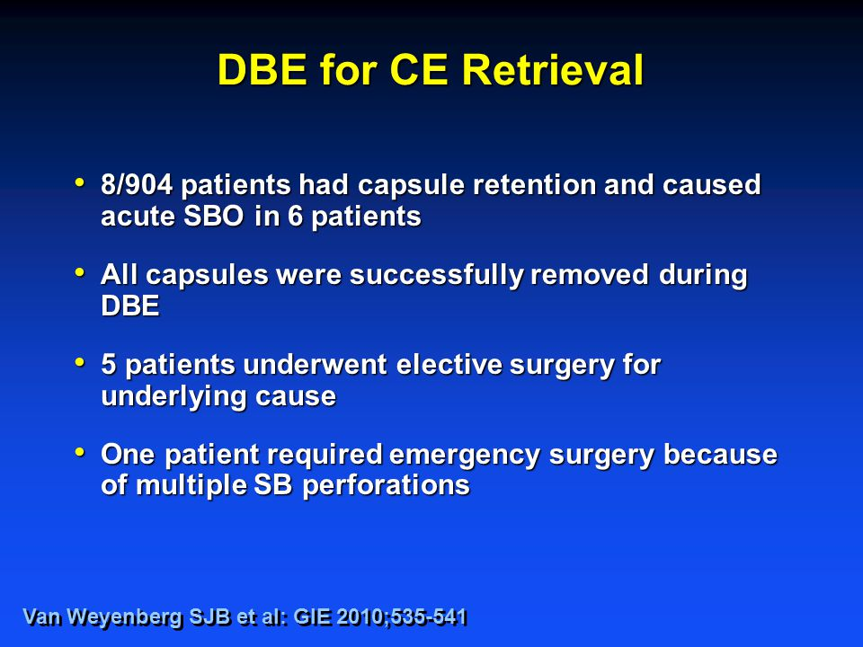 DBE for CE Retrieval 8/904 patients had capsule retention and caused acute SBO in 6 patients 8/904 patients had capsule retention and caused acute SBO in 6 patients All capsules were successfully removed during DBE All capsules were successfully removed during DBE 5 patients underwent elective surgery for underlying cause 5 patients underwent elective surgery for underlying cause One patient required emergency surgery because of multiple SB perforations One patient required emergency surgery because of multiple SB perforations Van Weyenberg SJB et al: GIE 2010;535-541
