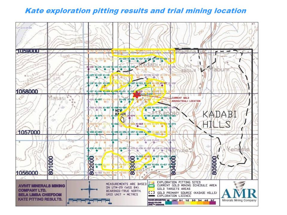 Kate exploration pitting results and trial mining location