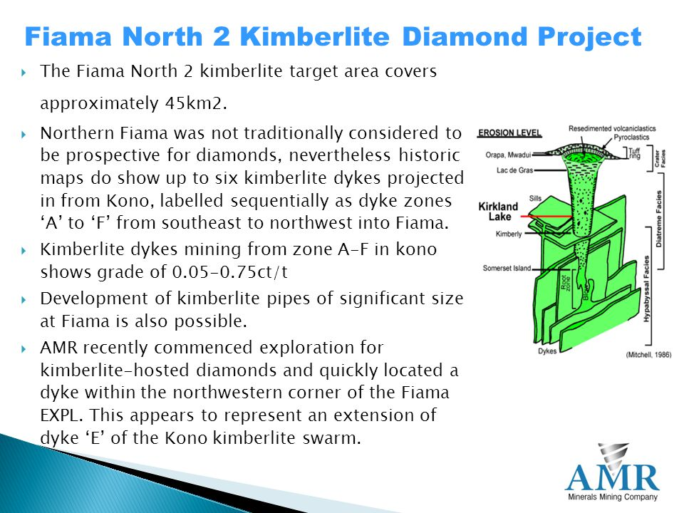  The Fiama North 2 kimberlite target area covers approximately 45km2.
