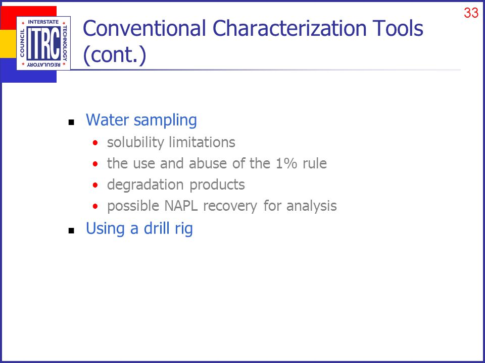 33 Conventional Characterization Tools (cont.) Water sampling solubility limitations the use and abuse of the 1% rule degradation products possible NAPL recovery for analysis Using a drill rig