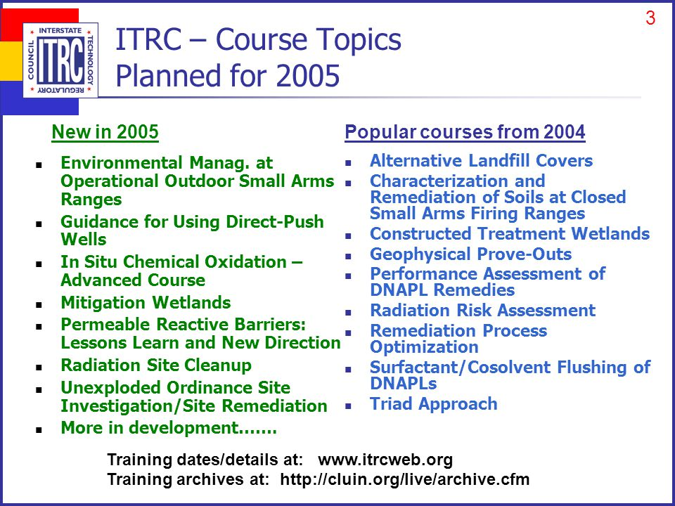 3 ITRC – Course Topics Planned for 2005 Environmental Manag.