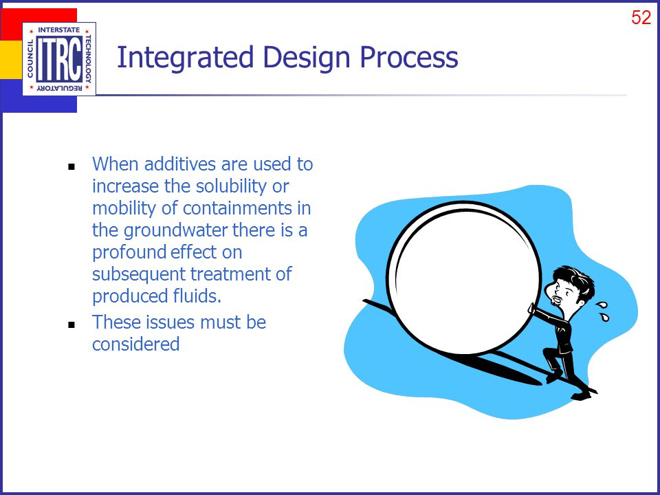 52 Integrated Design Process When additives are used to increase the solubility or mobility of containments in the groundwater there is a profound effect on subsequent treatment of produced fluids.