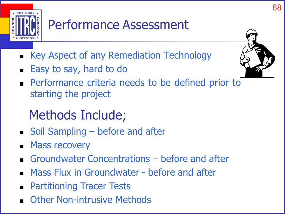68 Performance Assessment Key Aspect of any Remediation Technology Easy to say, hard to do Performance criteria needs to be defined prior to starting the project Soil Sampling – before and after Mass recovery Groundwater Concentrations – before and after Mass Flux in Groundwater - before and after Partitioning Tracer Tests Other Non-intrusive Methods Methods Include;