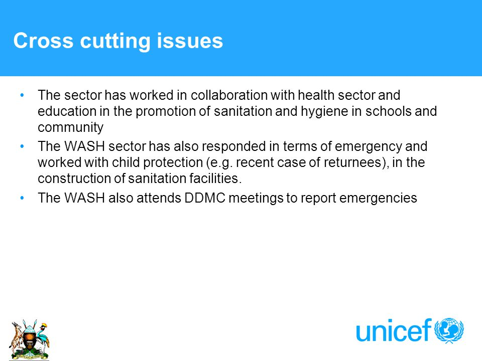 Cross cutting issues The sector has worked in collaboration with health sector and education in the promotion of sanitation and hygiene in schools and community The WASH sector has also responded in terms of emergency and worked with child protection (e.g.