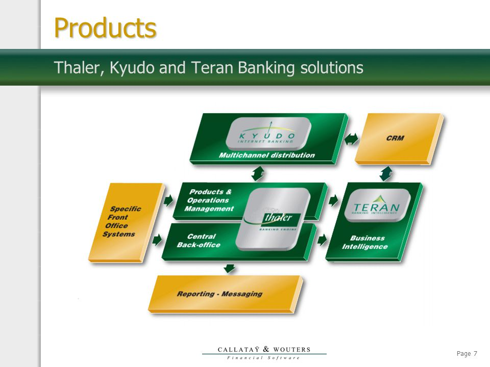 Page 7 Thaler, Kyudo and Teran Banking solutions Products