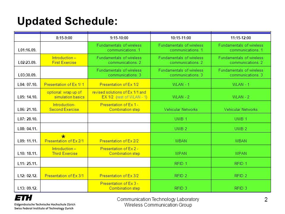 2 Communication Technology Laboratory Wireless Communication Group Updated Schedule: 8:15-9:009:15-10:0010:15-11:0011:15-12:00 L01:16.09. Fundamentals