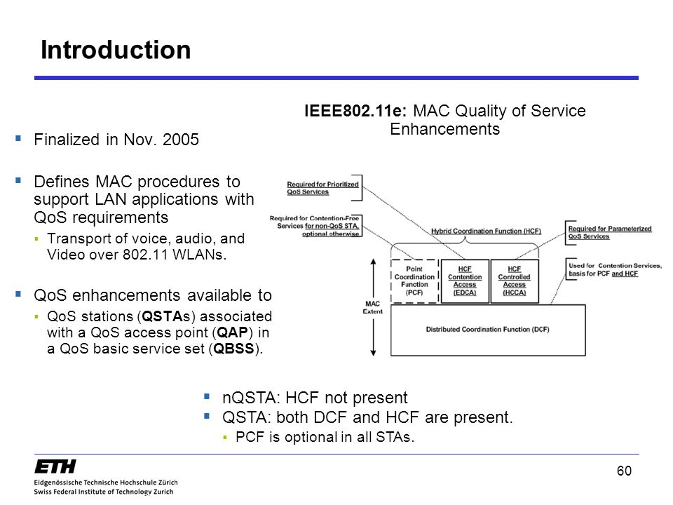 Introduction 60 802.11e IEEE802.11e: MAC Quality of Service Enhancements  nQSTA: HCF not present  QSTA: both DCF and HCF are present.